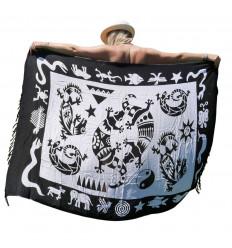 Pareo / sarong / wall hanging 160 x 110cm - Black & white Gecko pattern