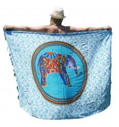 Paréo Bleu & Blanc motif Éléphant Multicolore style Bollywwod - 160x110cm