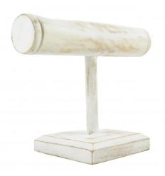 Présentoir à bracelets et montres 1 jonc en bois massif teinté blanc cérusé