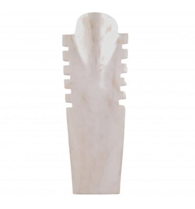 Buste présentoir à colliers cranté en bois massif blanc cérusé H40cm