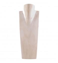 Buste présentoir à collier en bois massif blanc vintage pas cher.