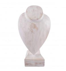 Buste présentoir à colliers sur pied en bois finition blanc cérusé 30cm