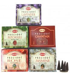 Coni di incenso naturale indiano Orlo. Lotto di 5 caselle, non costoso. 5 profumi.