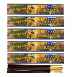 Incense Indian natural Satya - Natural. Lot of 5 boxes of 15g, 60 sticks