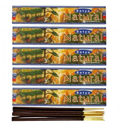 Incenso naturale Indiano Satya - Naturale. Lotto di 5 caselle di 15g, 60 bastoni