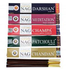 """Assortiment d'encens indiens """"Golden Nag"""" 5x15g marque Vijayshree."""