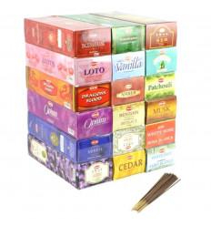 """Mégapack """"1 anno di Incenso di Qualità Superiore"""". Assortimento 18 fragranze / 360 bastoni. Marca ORLO."""