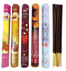 Encens Indien naturel - Bouquet Plaisirs Sucrés (5 parfums) Lot de 100 bâtonnets marque HEM