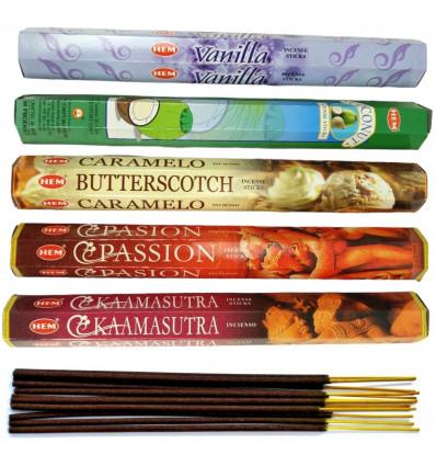 Assortimento di incenso Profumo - Gourmet (5 profumi) Lotto di 100 bastoncini marca HEM