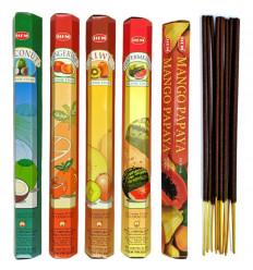 "Assortment of incense ""Exotic Fruits"" 5 fragrances. Lot of 100 sticks brand HEM."