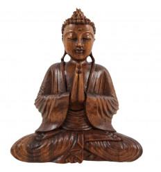 Statuette Bouddha zen assis en bois. Décoration artisanat d'Asie.