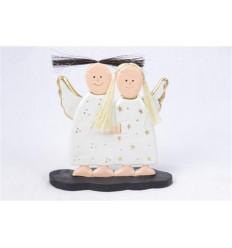 Anges en bois robe blanche H17cm - Artisanat de Noël