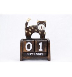 Calendrier perpétuel Chat en bois