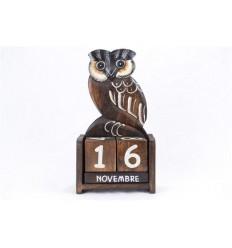 Perpetual calendar Owl Owl in wood