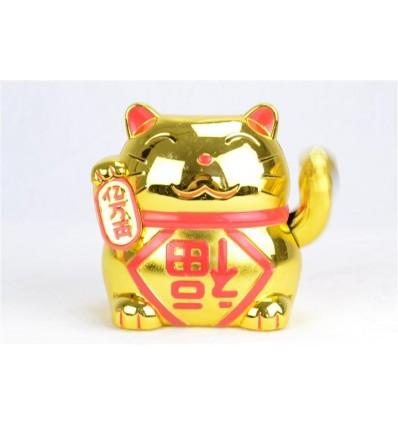Maneki neko solaire / Chat japonais doré porte bonheur