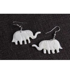 Earrings, ethnic bone pattern elephants