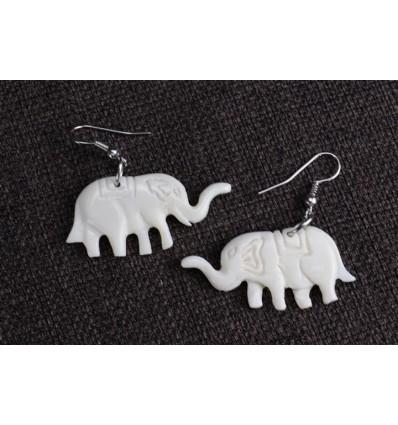 Boucles d'oreilles ethniques en os motif éléphants