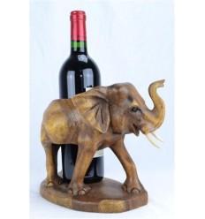 Portabottiglie - Statua di un elefante-esotico in legno, intagliato a mano