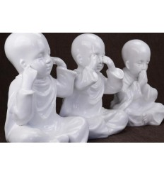 "Les 3 Moines ""secret du bonheur"". Statuettes en resine laquee blanc h20cm"