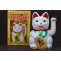 Maneki neko / Chat japonais blanc - Porte/bonheur