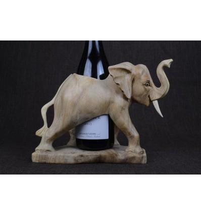 Porte bouteille éléphant en bois sculpté main
