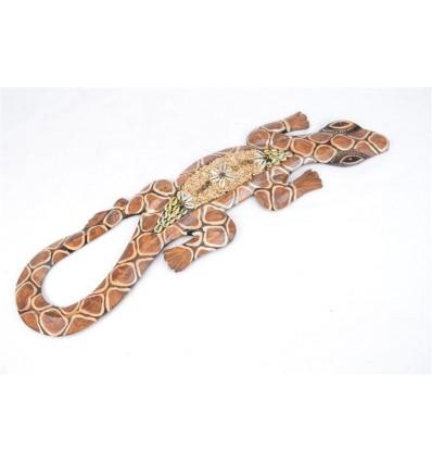 Gecko Lezard Salamandre decoration murale en bois et coquillages 50cm