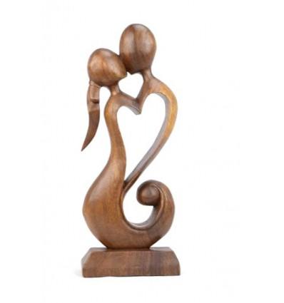 Statua astratta Coppia in Fusione h30cm legno massello intagliato a mano