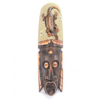 Maschera africana 50cm decorate con Gecko sabbia e conchiglie Cowries