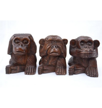 "The 3 monkeys ""secret of happiness"". Statuettes solid wood H10cm"