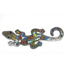 Gecko Margouillat Salamandre mural 60cm mosaique de verre noire multicolore